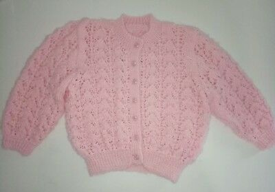 Band New Baby Girl's Hand Knitted Pink Cardigan Size 00 - 0