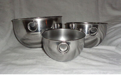 3pc Vtg Revere Ware Nesting Mixing Bowls Set Stainless pre 68 Double Circle USA