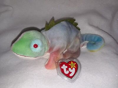 Ty Beanie Babies Rainbow (No Tongue) w/Iggy Tags ERRORS w/ Tag Protector Retired