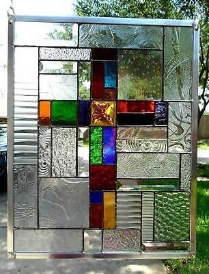 """Wholly Unique"" Stained Glass Window Panel Hanging - 18 3/4""x 14 1/2"""