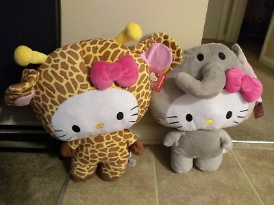 """20"""" Hello Kitty Elephant & Giraffe Costume Plushes Giant Huge New with tags!!!"""