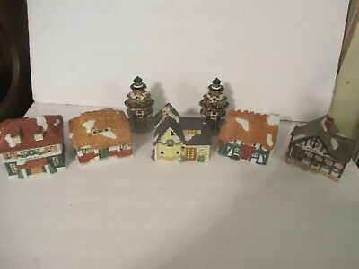 """Lot of Small Miniature Christmas Porcelain Village Houses  Lighthouse 4- 5"""" tall"""