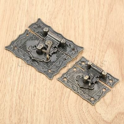 Rectangle Antique Bronze Emboss Jewelry Wooden Case Latch Chest Box Clasp Hasp