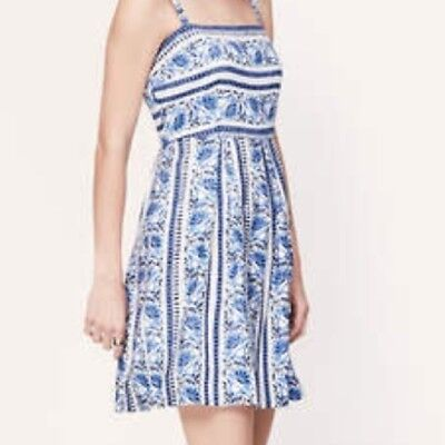 LOFT Blue White Floral Boho Folk Pleated Empire Waist A-Line Sun Dress Sz 2 NEW!