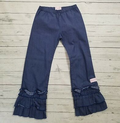 Ruffle Girl Chambray 3 Tier Ruffle Pants Boutique 12 Blue Denim Bell Pull On