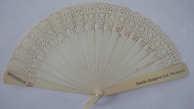 Antique Small Pierced Celluloid Advertising Hand Fan