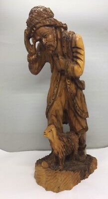 """16"""" Tall Hand Carved Wood Statue Of Man And Sheep"""