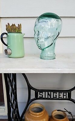 4 X Glass Mannequin Heads full size Made In Spain Green RRP $240 display