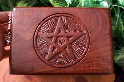 PENTAGRAM TRINKET BOX Wood Wicca Tarot Pagan Ritual Spell Oracle Spiritual