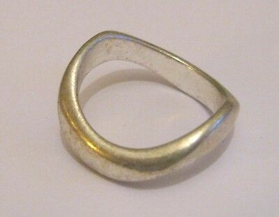 Lovely silver tone metal wave style ring size Q