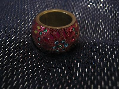 Wonderful Bronze tone metal ring with gorgeous exterior decoration size O