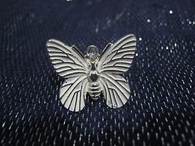 Wonderful statement style ring silver tone metal butterfly size P