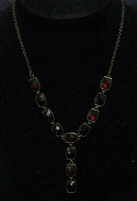 Fantastic bronze tone metal chain necklace with faceted deep red stones
