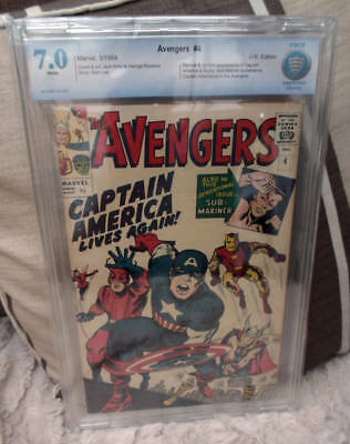 MARVEL Comics AVENGERS 4 CBC CGC 7.0 White pages 1964 1St app Captain America