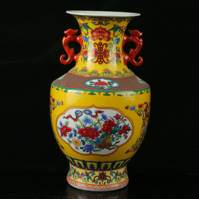China Pastel Porcelain Hand Painted  Vase Mark  As The Qianlong  R1066.b