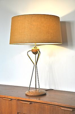 Vintage MID Century oak/brass Thurston Danish 'The WIZZ' table Lamp & new shade