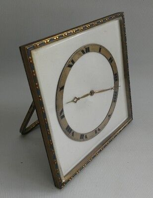 Vintage Art Deco Swiss Brevet 8 Day Mantle Desk Easel Back Clock