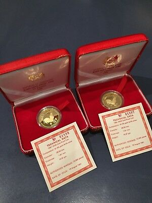 2 Singapore Mint RARE $500 Gold Coins 1981 fully Certified