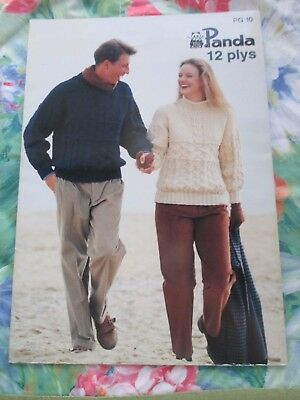 Panda 12 Ply Lady / Man Jumpers / Cardigans Knitting Pattern #pg10