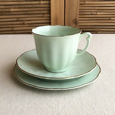 ENGLISH Vintage GLADE GREEN Bone CHINA Trio TEA CUP Saucer CAKE Plate ~ ENGLAND