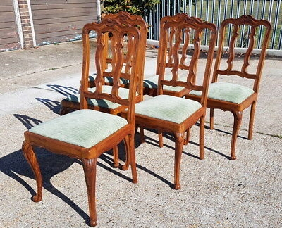 Louis XV Style Vintage French Carved oak set of 6 chairs