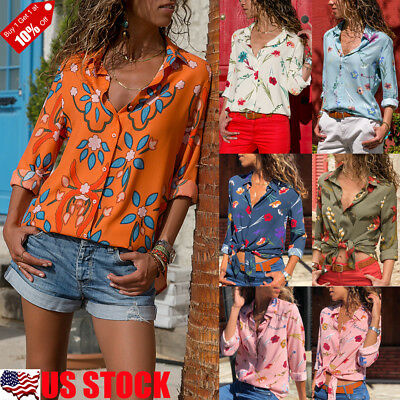 Women's Buttons Long Sleeve Floral Print Blouse Ladies T-shirt Tops Tunic Tee US