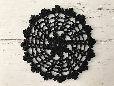 15 Cm New Black  Crochet Lace Doily