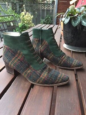 Rare Vintage Ladies Leather Suede Checkered Green Wool ankle boots 8.5 9 39