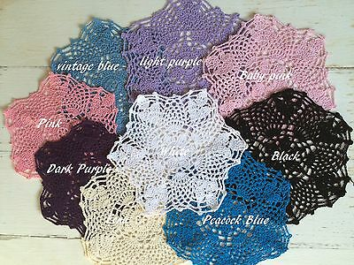 New Single 20-21 Cm  Crochet Lace Doilies 9 Colours