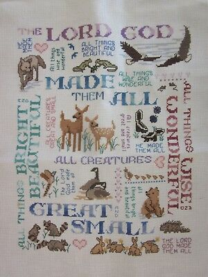 Completed Cross Stitch The Lord God All Creatures Great & Small