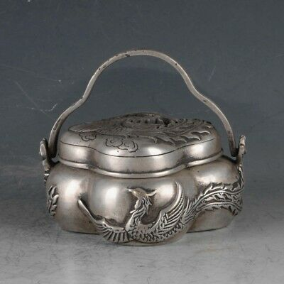 Chinese Silvering Copper Phoenix Incense Burner Made During The DaMing Xuande .a