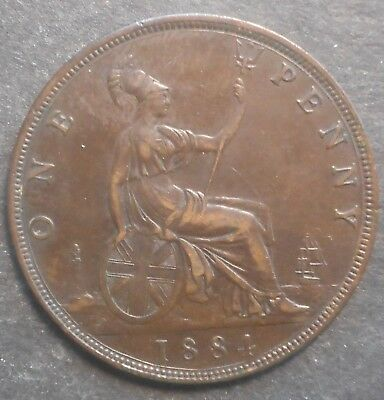 Great Britain 1884 Victoria  Penny Coin  Nice beter detail