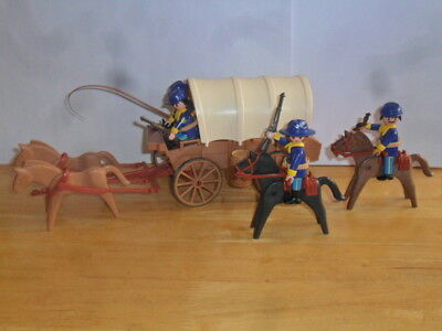 Playmobil-1 Western Cavalry Wagon With 4 Cavalry Mounted Soldiers & Accessories