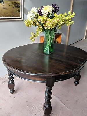 *** Antique Barley Twist Dining Table Solid Wood Beautiful Vintage ***