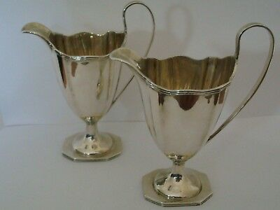 Vintage Superb Pair Of Ornate Matching Victorian Solid Silver Cream Jugs Lo 1898