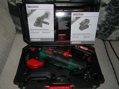 20V Parkside Cordless Angle Grinder PWSA 20-Li B2 with case, Battery & Charger