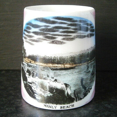 Antique Vintage German Scenic China Pink Mini Mug Rare Manly Beach & Ferry View