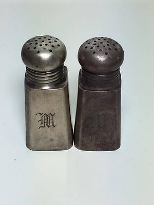 "Antique monogrammed ""M"" personal salt and pepper"