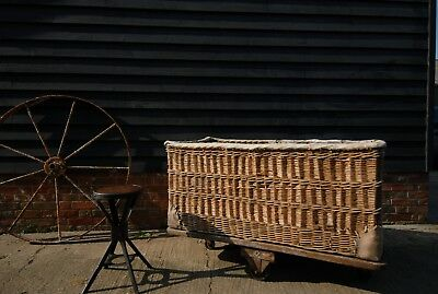 Antique Industrial Wicker Basket Mill Cart Trolley with Pig skin edges.