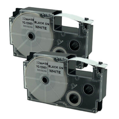 """Compatible for Casio EZ-Label Tape 12mm x 8m 1/2"""" x 26' XR-12WE2S Black on White"""