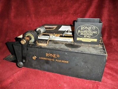 VINTAGE RONEO LABEL MAKER , Addressing Machine -Roneo No 40,Very Rare / Working