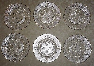 5 Vintage Jeanette Glass Harp Pattern Dessert Plates * 7 ½ Inch + 4 Coasters