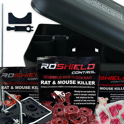 Roshield 4x Rodent Bait Box Kits with Rat & Mouse Killer Control Poison or Traps