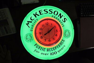 Vintage Neon Clock by McKesson Products