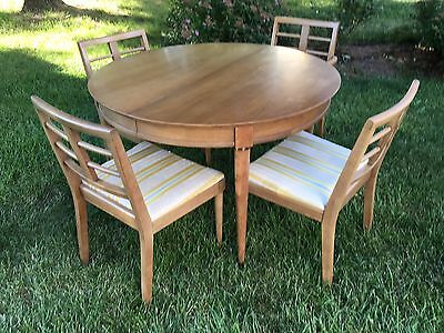 Vintage Mid Century Modern Round Dining Table and Chairs