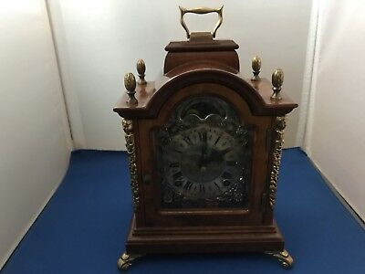 WARMINK Mantel Bracket Clock SQUARE Dutch Moonphase HIGH GLOSS DOUBLE Bell CHIME
