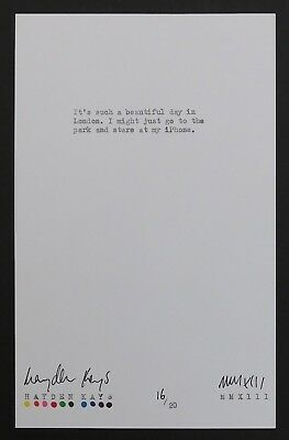 HAYDEN KAYS - Original Typewriter Piece 16/20, 'iPhone' + COA - 2013