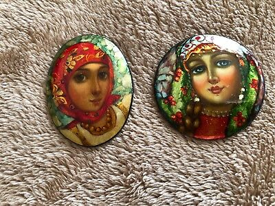 Vintage Two Russian Hand Painted WOMEN'S FACES Wooden Pin Brooches Marked