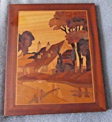 Vintage Inlaid Marquetry Wood Cut inlay Plaque Wall Hanging Picture signed
