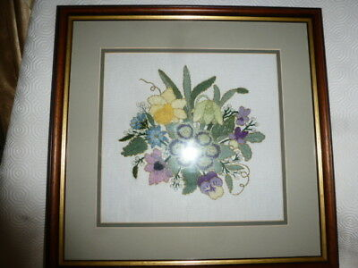 Vintage Hand Embroidered Bunch of Assorted Flowers Framed Glass Double Mounted